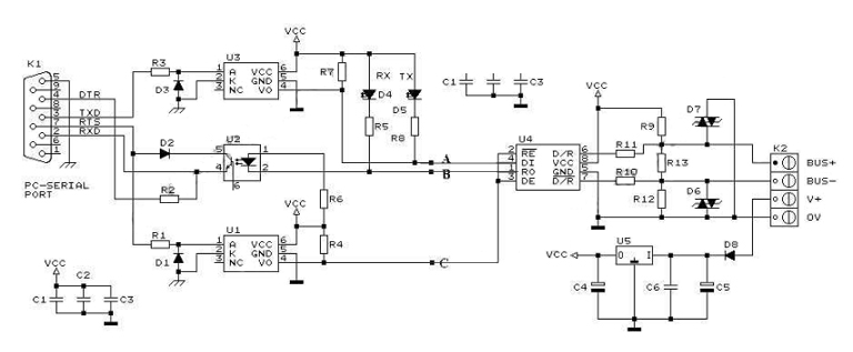 rs232 rs485 converter circuit rs232 to rs485 converter and adapter wiki RS 485 Pinout Diagram at n-0.co